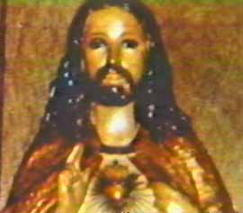 Sacred Heart statue in Tom Bachor's home.